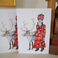 Father Christmas and Reindeer cards. Pair of 5x7 inch cards