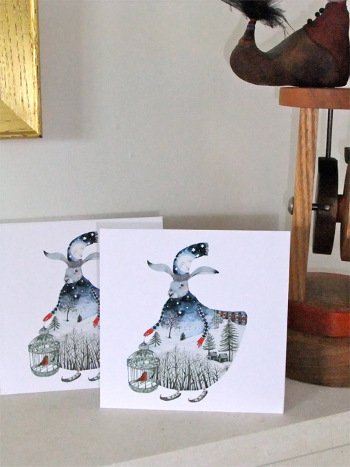 "Hare Christmas Cards. Pair of Winter Moon Hare 5""x 5"" Christmas cards"