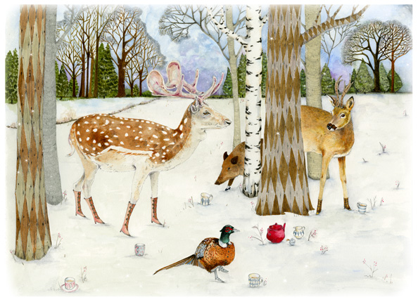 Giclee winter Woodland Animal A4 Print with Deer, Pheasant and Wild Boar