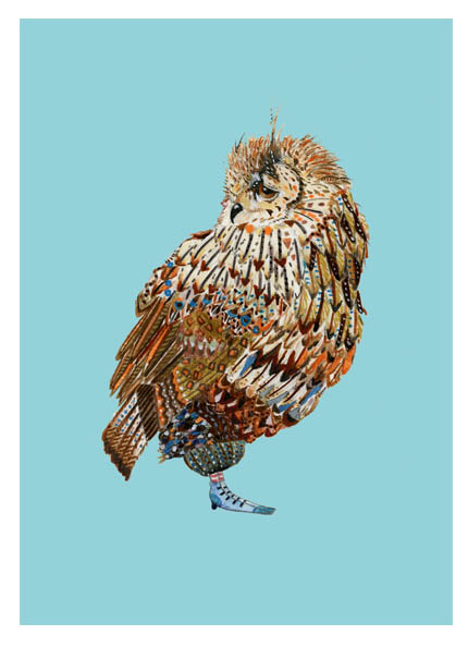 Owl Giclee print  5x7 inch Illustration of Owl nature print