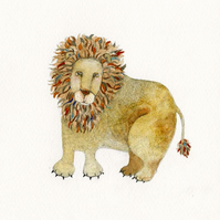 Lion watercolour and pencil painting