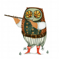Original painting of Owl playing the Flute