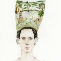 Good Hare Day. Watercolour painting of woman with Hares on her head.