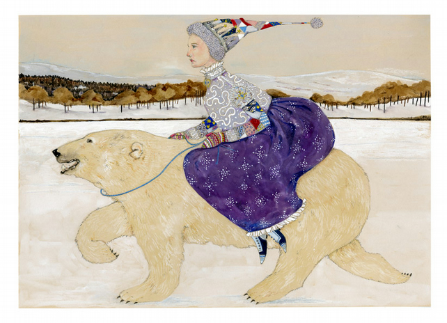 Snow Queen and Polar Bear A4 Giclee print Winter scene
