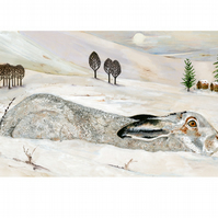 Winter Mountain Hare A4 Giclee print