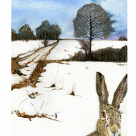 Hare in Winter Landscape A4 giclee Print