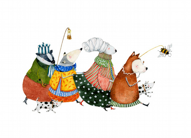 Summer Bee Parade A4 Giclee print