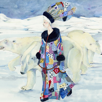 Polar Bears and their Snow Queen A4 Giclee print
