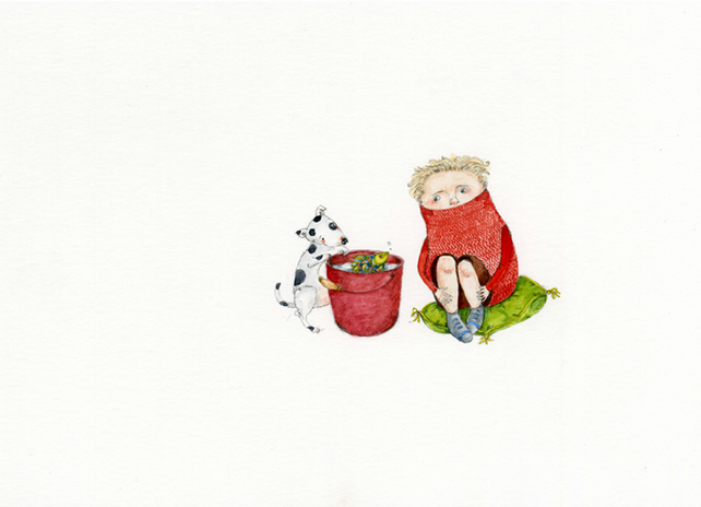 Boy with red bucket Original watercolour