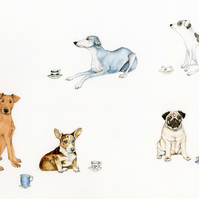 Dogs with Tea Cups Original watercolour painting