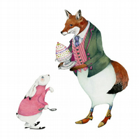 Fox and Bunny Rabbit with Trifle Original watercolour painting.
