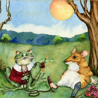 The Frog and The Mouse. Original watercolour of Aesop's Fable