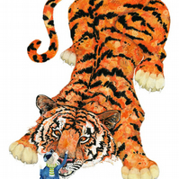 Tiger with Boy Animal Giclee A4 Print