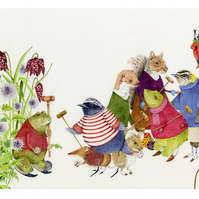Toads and Friends play Croquet A3 Giclee print