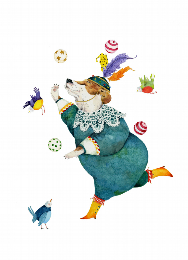 Dog Juggler A4 Giclee illustration dog print