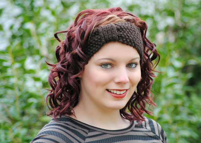 Brown Chunky Knitted Wide Headband Earwarmer