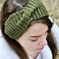 Khaki Knitted Wide Turban Twist Headband Earwarmer