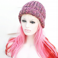 Womens Chunky Knit Ribbed Hat