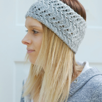 Grey Lacey Wide Knitted Headband, Great for Summer