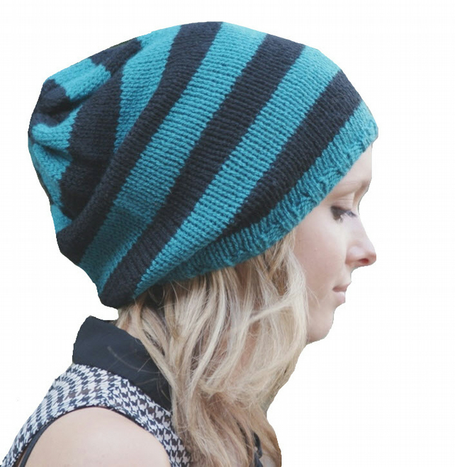 Teal and Black Hand Knitted Slouchy Beanie,Tam ,Dreads Hat