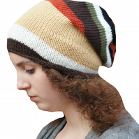 Stripey Knitted Slouchy Beanie Hat