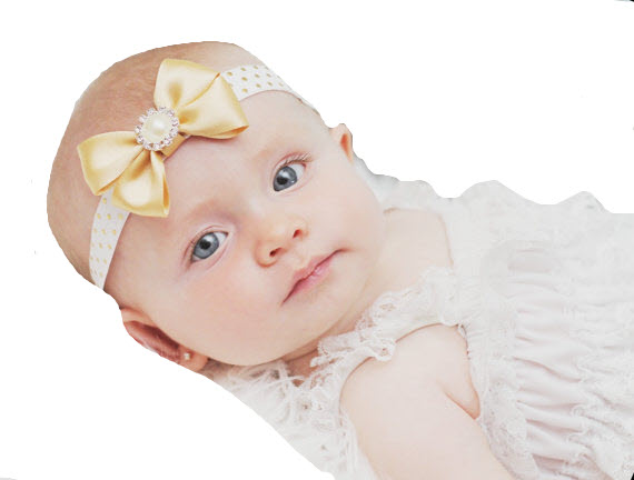 Baby Girls Light Gold Satin Bow Headband, Christening, Weddings