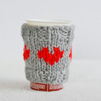 Love Heart Grey Cosy Cup Can Warmer  Holder