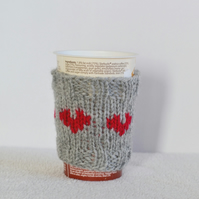 Grey and Ruby Love Heart  Cosy Can Warmer  Holder