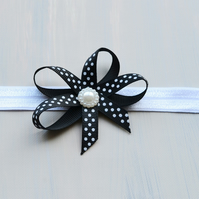 Baby Girls  Black Polka Dot Boutique Bow Hairband, Newborn to 3 Years Sizes
