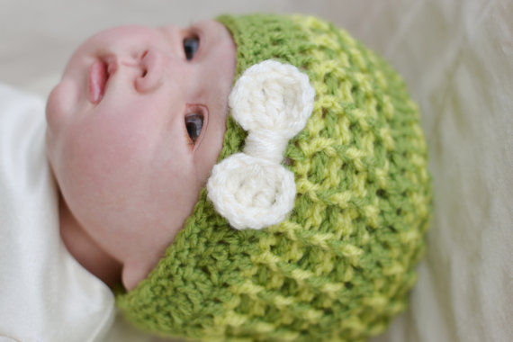 Girls Toddler Crochet Beanie Bow Hat Meadow Green 6 - 9 months