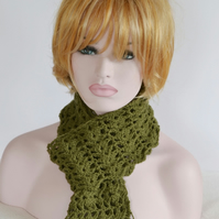 Khaki Crochet Fancy Openwork Pattern Scarf