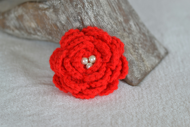 Bright Red Crochet Rose Flower Brooch Corsage