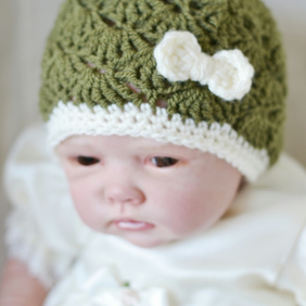 Newborn Khaki Crochet Baby Hat with Cream Bow