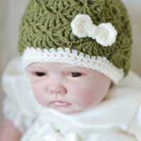 3 - 6 Months  Khaki Crochet Baby Hat with Cream Bow