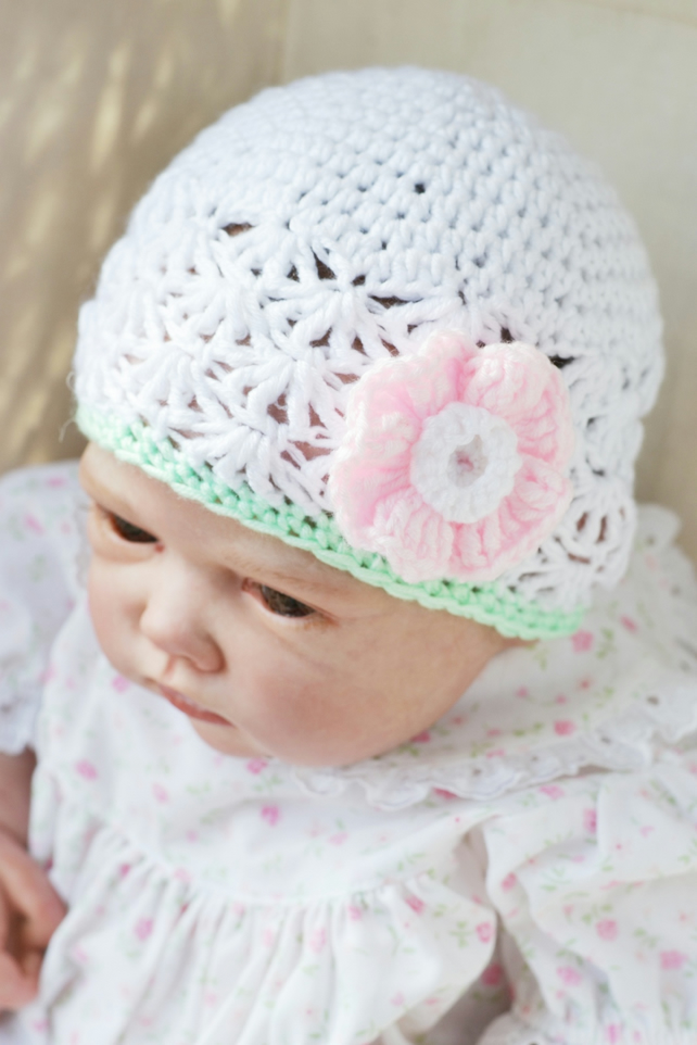 Newborn Girls  White, Mint and Pink Crochet Beanie Hat with Flower