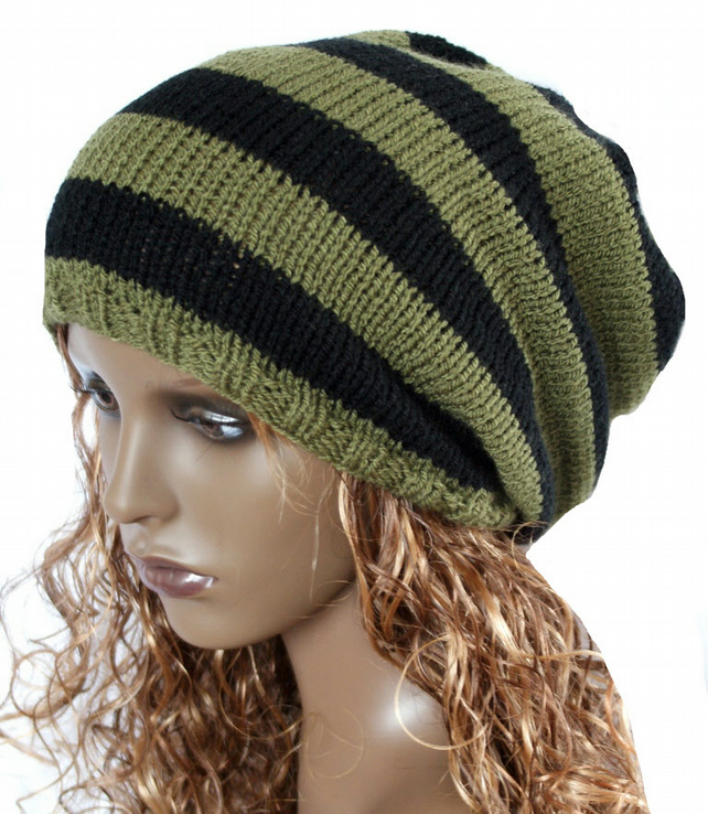Khaki and Black Hand Knitted Slouchy Beanie,Tam ,Dreads Hat