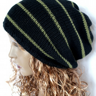 Black  and Khaki Hand Knitted Slouchy Beanie,Tam ,Dreads Hat