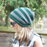 Unisex Dark Green and Grey Hand Knitted Slouchy Beanie,Tam ,Dreads Hat