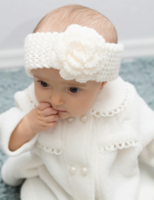 Girls Knitted Cream Flower Headband, Made to order in any size