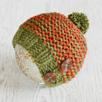 Baby Hat, Boys Beanie Hat, Newborn hat, Chunky Knit, Hat, Rust and Khaki