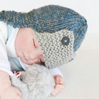 Newborn Baby Boys Trapper hat, Photo Prop Hat, Chunky Knit hat, Aviator hat