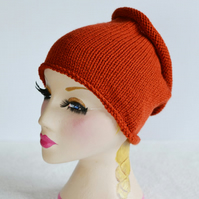 Unisex Rust Knitted Tube Hat, Dreads Sock