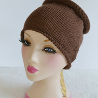 Unisex Walnut Brown Knitted Tube Hat, Dreads Sock