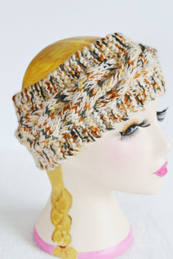 Chunky Knit Cable Headband, Wide Headband, Earwarmer