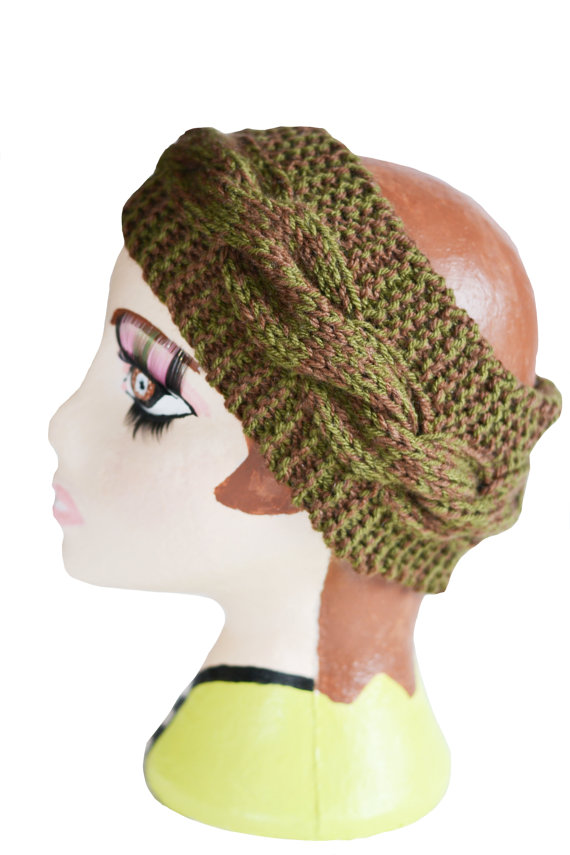 Chunky Knit Womens Cable Headband, Wide Headband, Earwarmer