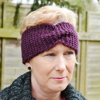 Knitted Headband Ear warmer Chunky Knit Wide Turban Style Plum