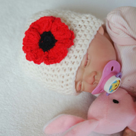 Newborn to 9 Months Baby Girl Poppy Flower Hat, Beanie, Crochet,