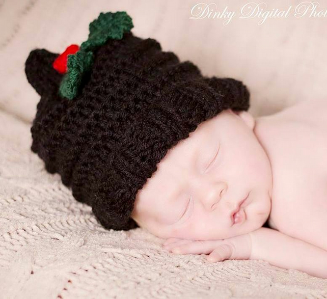Newborn Baby Xmas Holly and Berry Photo Prop Hat