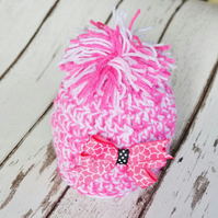 Baby Girls Beanie Pompom Hat Girls 0 - 1 Month with Hairclip