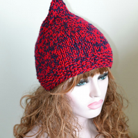 Knitted Pixie Hat Hat Elf Chunky Ruby Navy